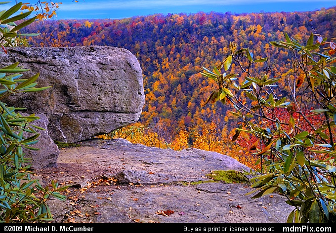 Pase Point Overlook Rock with Distant Fall Foliage