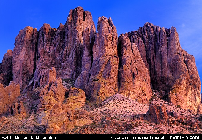 Towers of Superstition Mountain Rock at Dusk