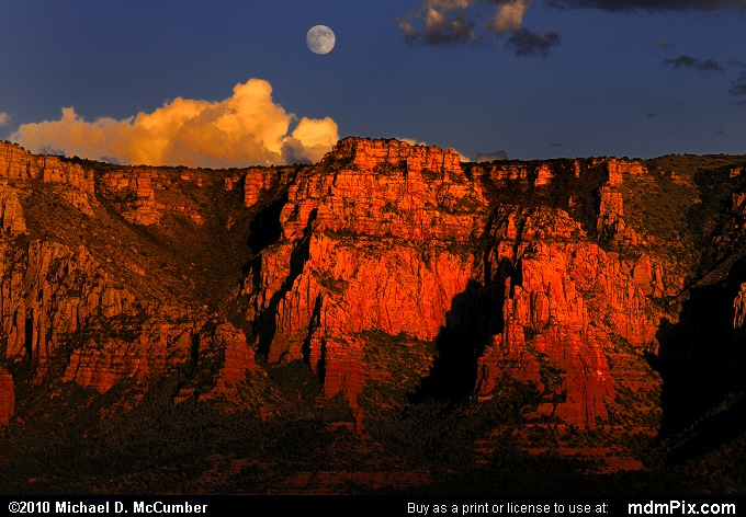 Full Moon Rising over Munds Mountain at Sedona, Arizona