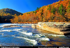 Fall Foliage Peak Surrounds Yough River Rapids