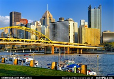 Boats Lining the Allegheny River in Pittsburgh