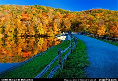 Laurel Hill Lake Dam and Causeway in Autumn