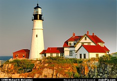Maine's Portland Head Light at Sunset