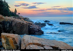 Coastline of Acadia National Park in Sunset