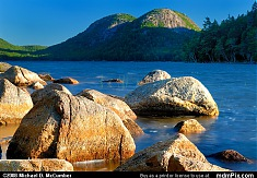 Jordan Pond's Pink Granite Glistening before Acadia's Bubbles