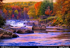 Distant Ohiopyle Falls with Fall Foliage at Sunset