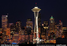 Lit Up Seattle Space Needle with City's Skyline at Night