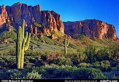 Flat Iron on Superstition Mountain in Evening