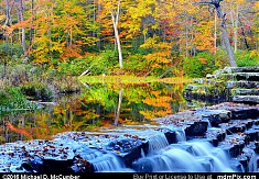 Jones Mill Run Dam and Pond with Fall Foliage