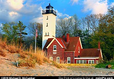 Presque Isle Lighthouse with Sand Dune in Evening