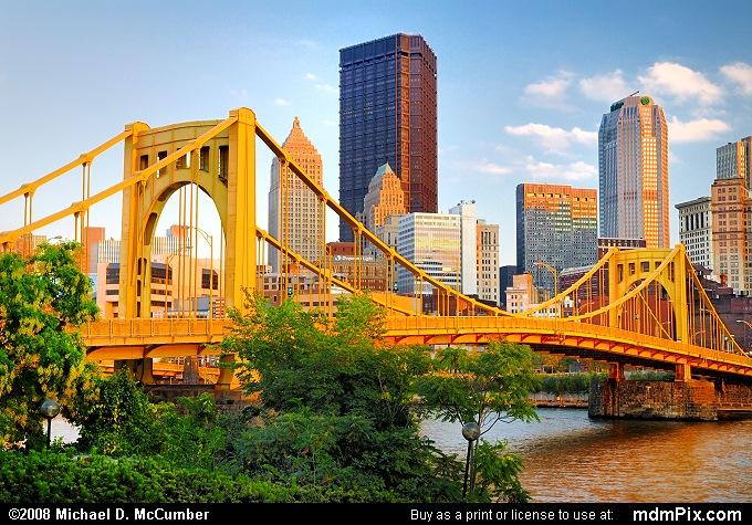 Setting October Sun Cast Against Pittsburgh's 7th Street Bridge