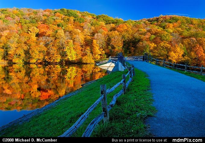 Laurel Hill Lake Dam and Causeway in Autumn