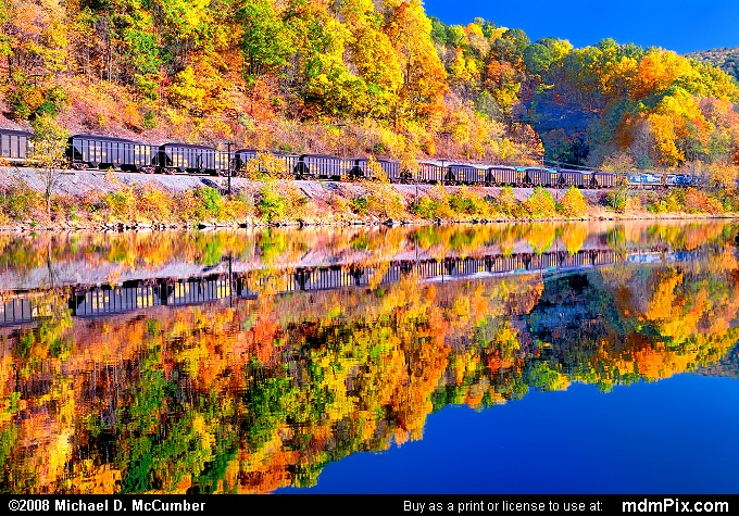 Autumn Train Reflection on Yough River