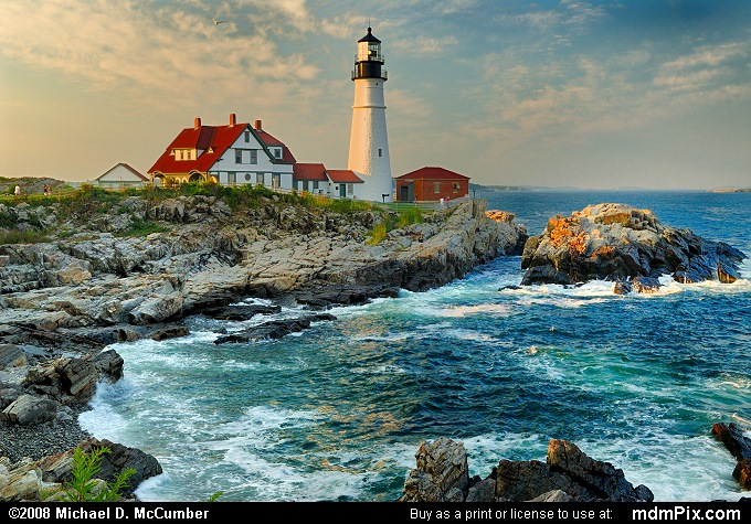 Portland Head Light Lighthouse and Atlantic Ocean