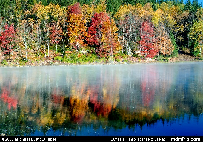 Fall Foliage Reflected in Pendleton Lake's Misty Water