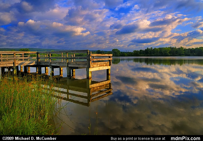 Fishing Dock on Shawnee Lake in Sunrise Lighting