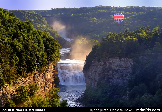 Hot Air Balloon and Mists of Genesee River's Middle Falls