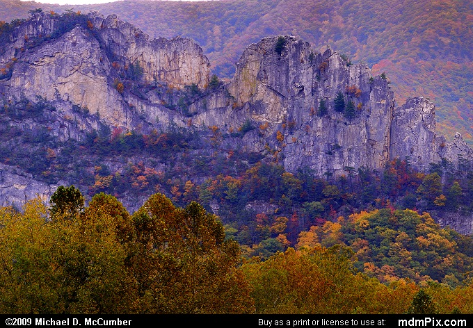 Seneca Rocks (Seneca Rocks Picture 113 - October 12, 2009 from Spruce Knob/Seneca Rocks National Recreation Area)