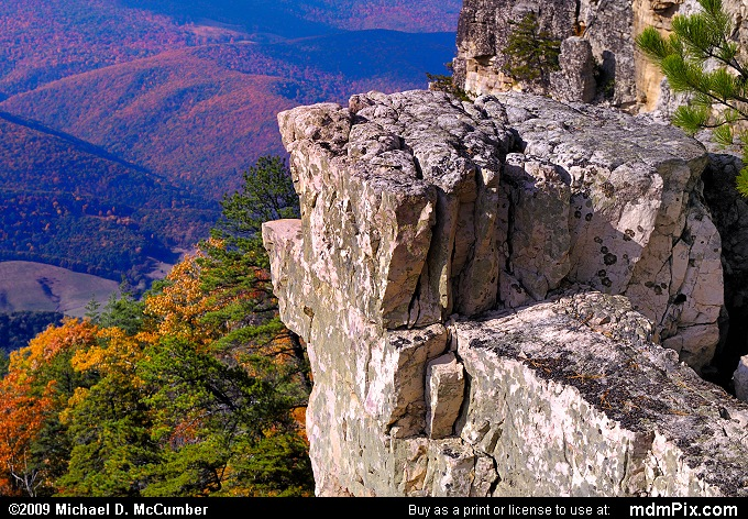 Chimney Top on North Fork Mtn (Chimney Top on North Fork Mtn Picture 084 - October 13, 2009 from Spruce Knob/Seneca Rocks National Recreation Area)
