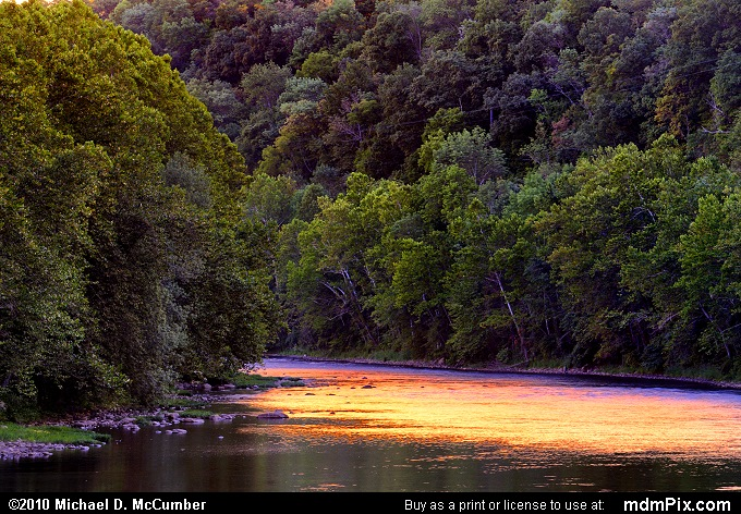 Sunset Shining on Youghiogheny River at Connellsville