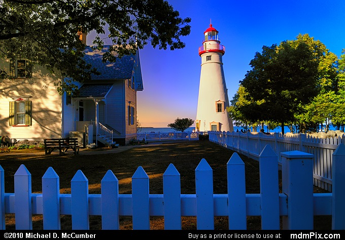 White Picket Fence before Marblehead Lighthouse