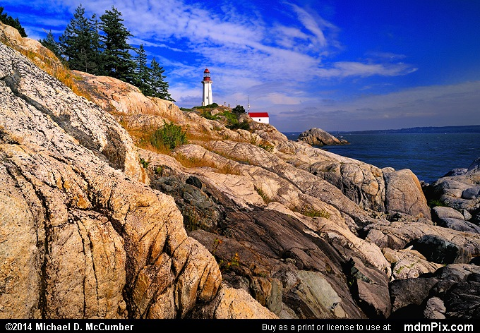 Granite Rock Formations with Point Atkinson Lighthouse West Vancouver, BC