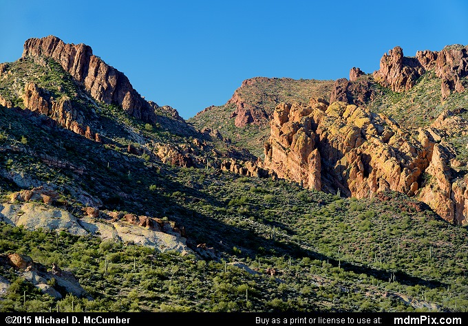 Superstition Mountains (Superstition Mountains Picture 005 - February 16, 2015 from Superstition Wilderness (Arizona))
