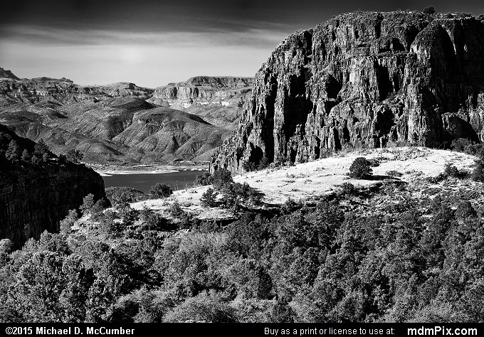 Parker Canyon (Parker Canyon Black and White Picture 056 - February 18, 2015 from Sierra Ancha Experimental Forest, Arizona)