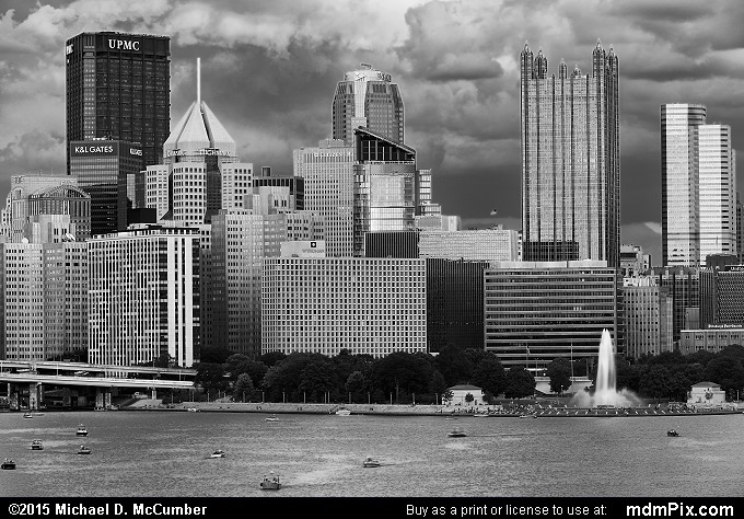 Pittsburgh Skyline (Pittsburgh Skyline Black and White Picture 019 - August 1, 2015 from Pittsburgh, Pennsylvania)
