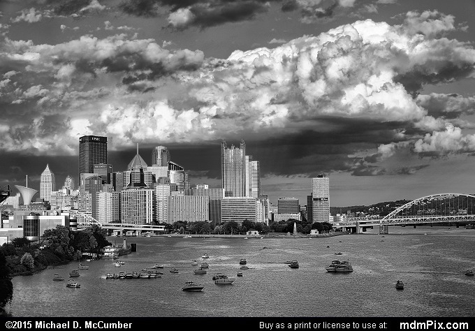 Pittsburgh Skyline (Pittsburgh Skyline Black and White Picture 020 - August 1, 2015 from Pittsburgh, Pennsylvania)
