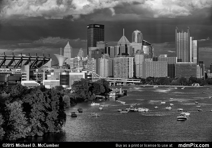 Pittsburgh Skyline (Pittsburgh Skyline Black and White Picture 022 - August 1, 2015 from Pittsburgh, Pennsylvania)