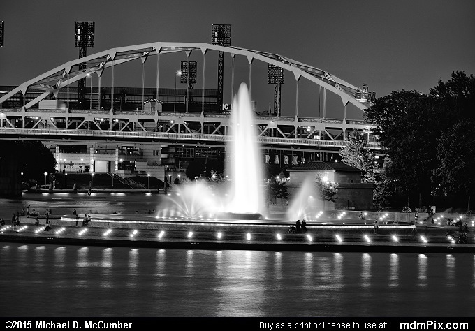 Three Rivers Point Fountain (Three Rivers Point Fountain Black and White Picture 023 - August 1, 2015 from Pittsburgh, Pennsylvania)