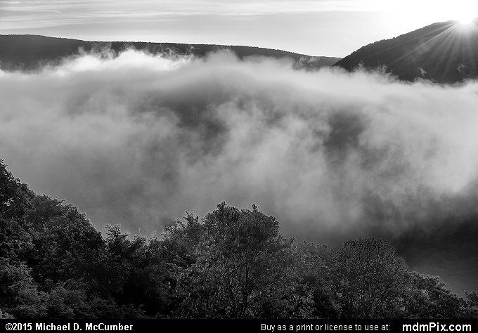 Sunrise (Sunrise Black and White Picture 002 - September 19, 2015 from Ohiopyle State Park, Pennsylvania)