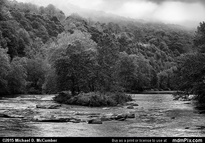 Youghiogheny River (Youghiogheny River Black and White Picture 028 - October 8, 2015 from Ohiopyle State Park, Pennsylvania)