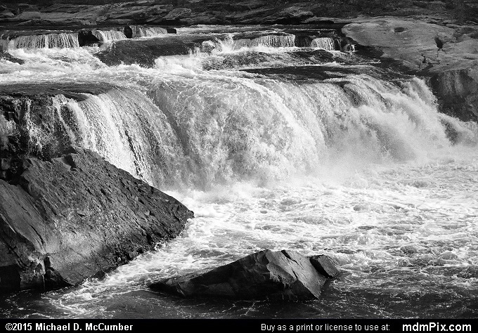 Ohiopyle Falls (Ohiopyle Falls Black and White Picture 044 - October 8, 2015 from Ohiopyle State Park, Pennsylvania)