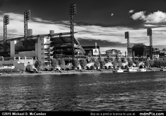 PNC Park (PNC Park Black and White Picture 058 - October 10, 2015 from Pittsburgh, Pennsylvania)