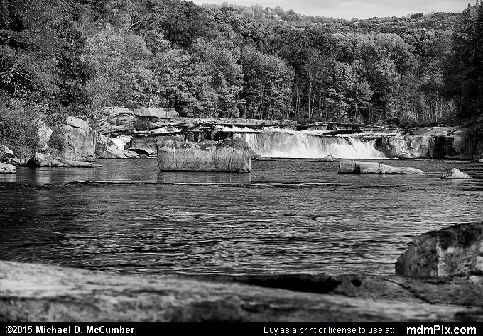 Ohiopyle Falls (Ohiopyle Falls Black and White Picture 053 - October 22, 2015 from Ohiopyle State Park, Pennsylvania)