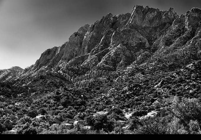 Organ Needle (Organ Needle Black and White Picture 033 - October 26, 2015 from Organ Mountains-Desert Peaks National Monument, New Mexico)