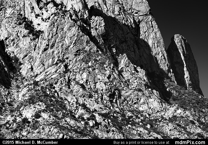 Organ Mountains (Organ Mountains Black and White Picture 042 - October 26, 2015 from Organ Mountains-Desert Peaks National Monument, New Mexico)