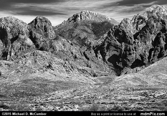 Baldy Peak (Baldy Peak Black and White Picture 004 - October 27, 2015 from Organ Mountains-Desert Peaks National Monument, New Mexico)
