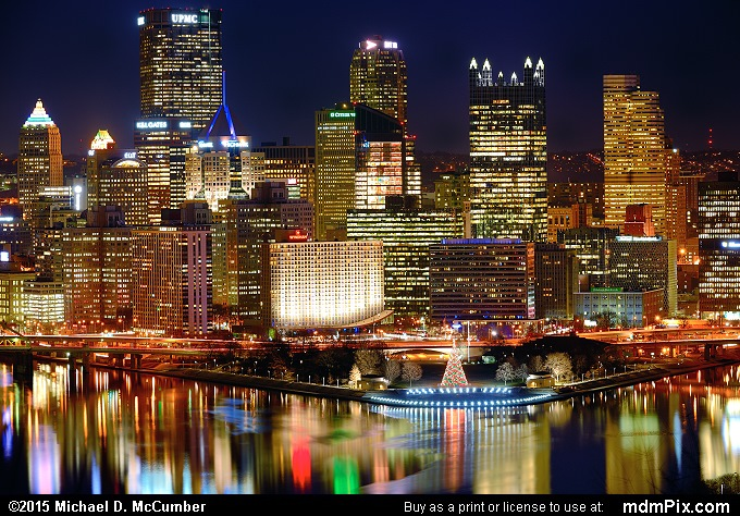 Pittsburgh Skyline Sparkling at Night in December