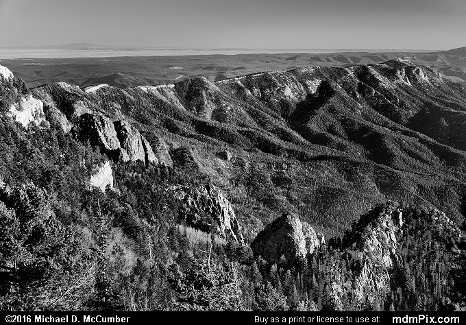 Sandia Mountains (Sandia Mountains Black and White Picture 006 - March 16, 2016 from Cedar Crest, New Mexico)