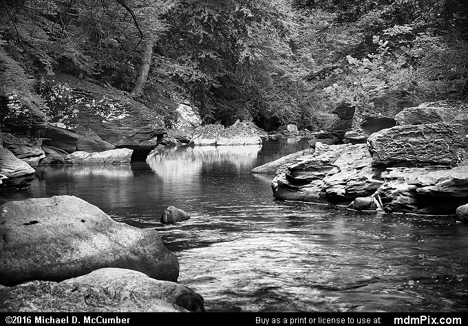Indian Creek (Indian Creek Black and White Picture 003 - July 10, 2016 from Mill Run, Pennsylvania)