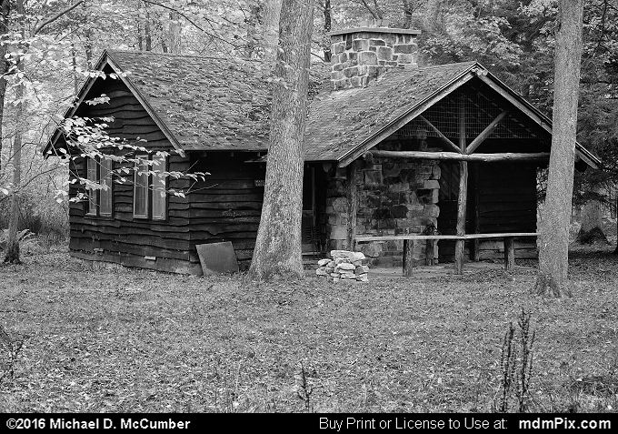 Log Cabin (Log Cabin Black and White Picture 068 - October 15, 2016 from Laurel Hill State Park, Pennsylvania)