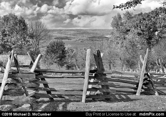Wood Fence (Wood Fence Black and White Picture 071 - October 19, 2016 from Somerset, Pennsylvania)