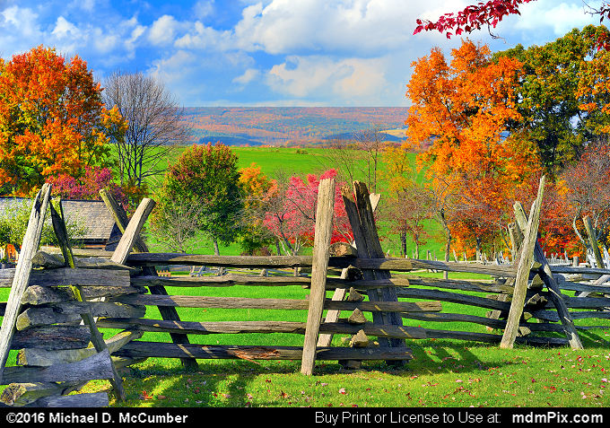 Distant Laurel Hill with Rustic Fence at Somerset