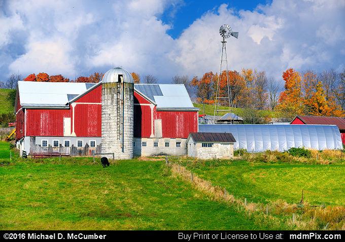 Red Barn on a Hillside Somerset County Farm