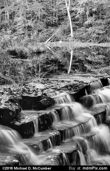 Jones Mill Run Dam (Jones Mill Run Dam Black and White Picture 117 - October 19, 2016 from Laurel Hill State Park, Pennsylvania)