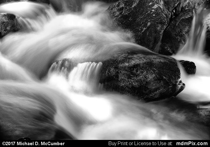 Cascading Waterfall (Cascading Waterfall Black and White Picture 005 - June 25, 2017 from PA State Game Land 51)