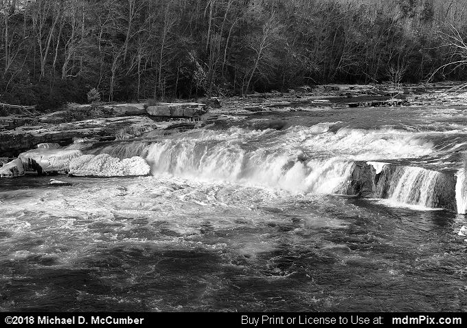 Ohiopyle Falls (Ohiopyle Falls Black and White Picture 041 - January 19, 2018 from Ohiopyle State Park, Pennsylvania)